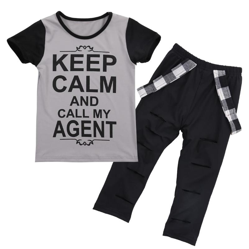 Short Sleeve T-Shirt with Long Pants Outfits 2 Pieces Clothes Set for Toddler Children Baby Girl