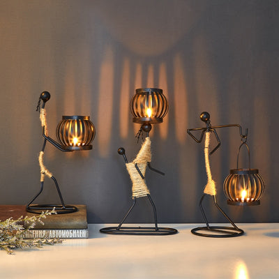 Creative Candle Holder Iron Home Decoration Kitchen Restaurant Romantic Candlestick