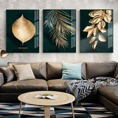 Golden Plant Leaves Picture Wall Poster Modern Style Canvas Print Painting Art Aisle Living Room Unique Decoration