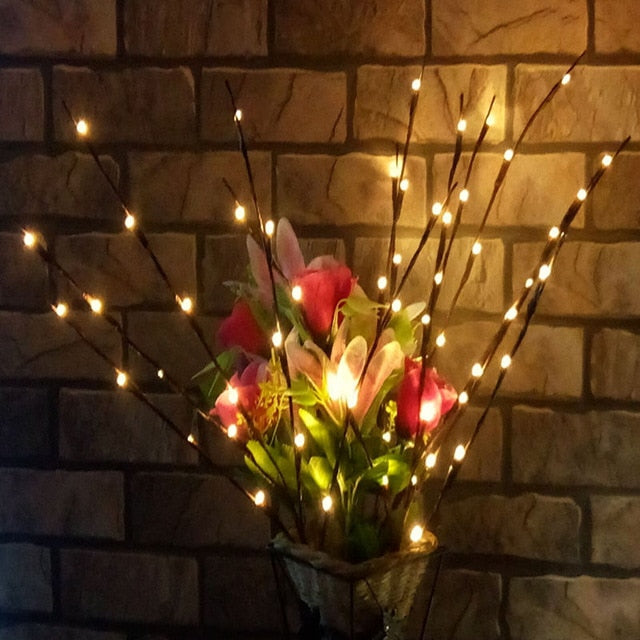 LED Willow Branch Lamp Christmas Decorations for Home Battery Powered Decorative Christmas Ornaments