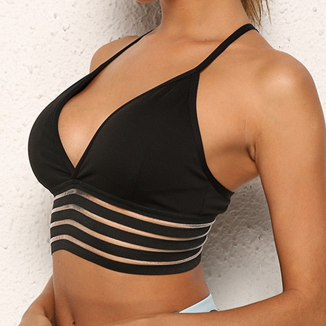 Sexy V-Neck Push Up Fitness Bra Breathable Seamless Underwear Backless Stick Bras for Women