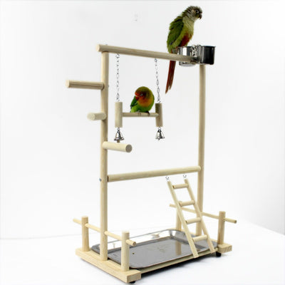 Playground Bird Perches Parrot Playstand with Cup Toys Tray Bird Swing Climbing Hanging Ladder Bridge Wood