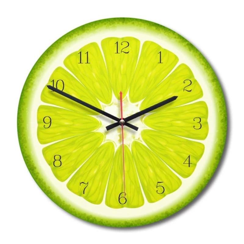 Creative Fruit Wall Clock Lime Modern Kitchen Lemon Clock Watch Home Decor