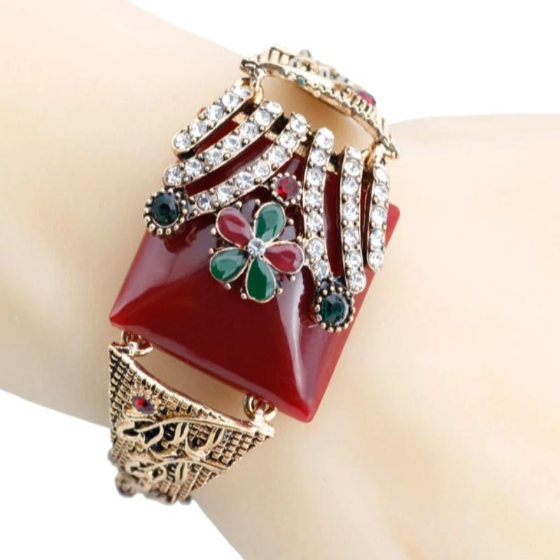 Turkish Vintage Flower Cuff Bracelets for Women Resin Crystal Bangle Bohemia Pastoral Style