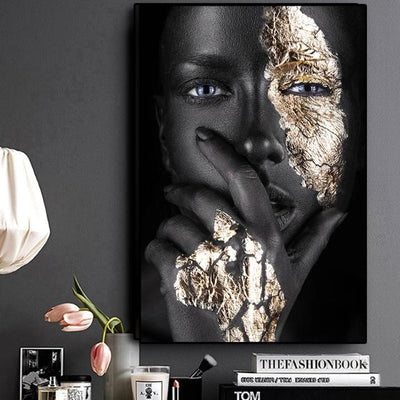 Black and Gold Woman Oil Painting on Canvas Posters and Prints Scandinavian Wall Art Picture for Living Room