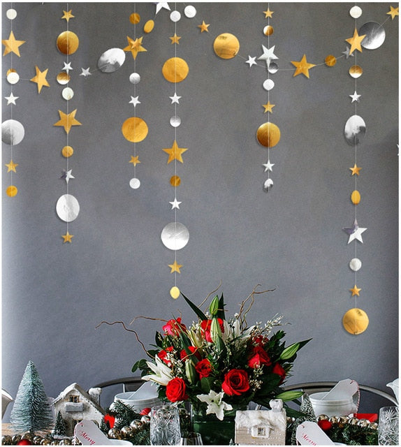 4M Twinkle Star Snowflake Paper Garlands Pendant Ornaments Christmas Decorations