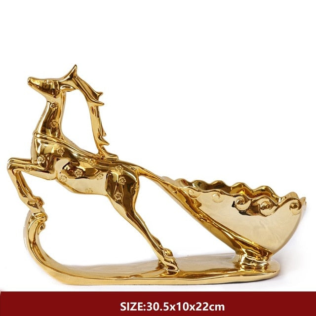 Creative Crafts Resin Red Wine Holder Frame Horse Deer Room Decoration
