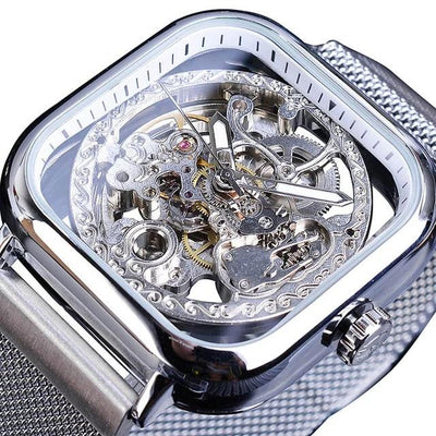 Skeleton Mechanical Watches Automatic Self-Wind Golden Transparent Fashion Mesh Steel Wristwatch