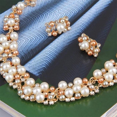 Pearl Elegant Bridal Jewelry Crystal Necklace Earrings Rhinestone Engagement Jewelry Sets