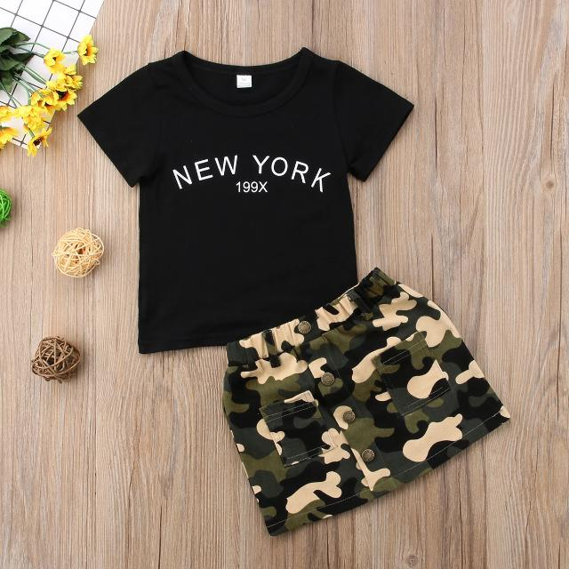 Summer 2 Pieces Toddler Kids Clothes Set Baby Girl Outfits Black Short Sleeve T Shirt and Camouflage Skirts