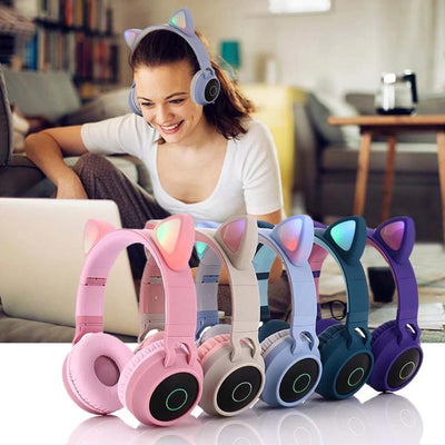 LED Bluetooth 5.0 Cat Ear Headphone Gaming Earphones for PC
