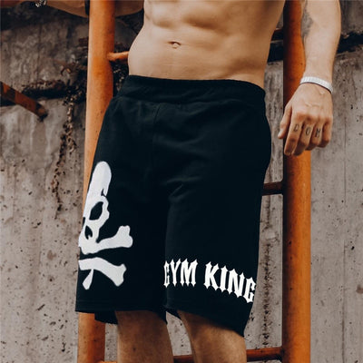 Skull Shorts Run Jogging Sports Fitness Bodybuilding Sweatpants Male Workout Training  Knee Length