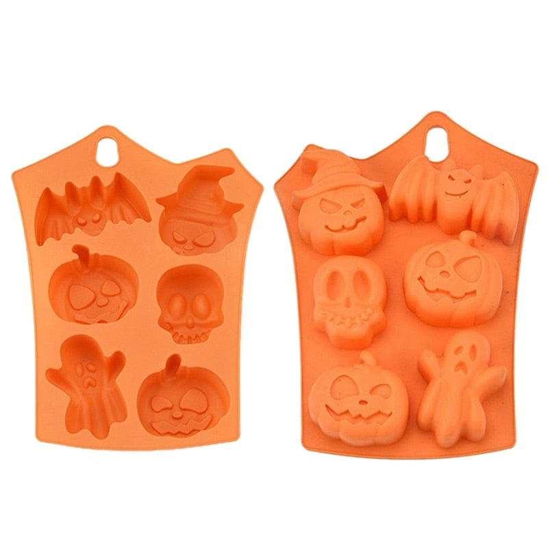 1 Pcs 6 Grids Pumpkin Bat Skull Ghost Shape Halloween Silicone Mold Candy Chocolate Pudding Mold for Halloween Party Decoration