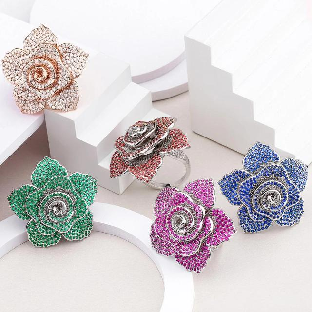 Fashion Crystal Zircon Rose Rings for Women