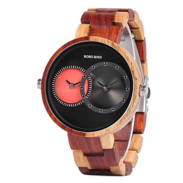 2 Time Zone Wood Watch for Men Luxury Wristwatch
