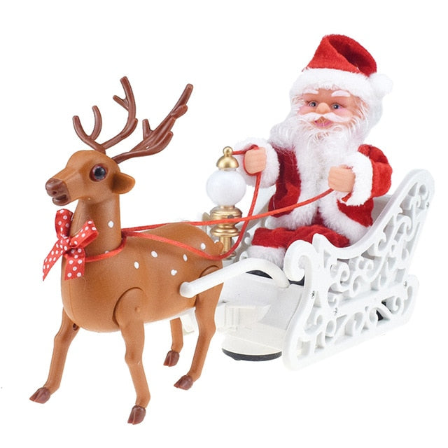 Santa Claus Doll Elk Sled Toy Universal Electric Car with Music Children Kids Christmas Electric Toy Doll Home Xmas Decor Gifts