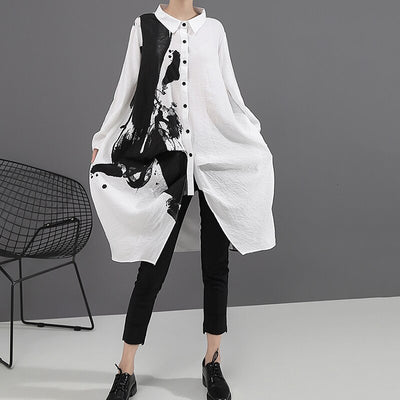 Black White Print Oversize Dress Lapel Long Sleeve Loose Fit Fashion Tide Spring Autumn