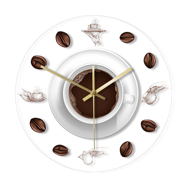 Coffee Hand Coffee Beans Wall Clock with LED Backlight Kitchen Acrylic Wall Clock