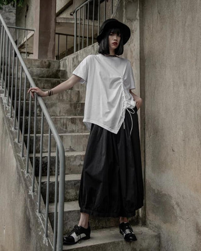 Autumn Winter High Elastic Waist Black Pleated Split Joint Wide Leg Loose Pants Women Trousers