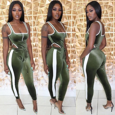 Women's Set Velvet Bodysuit Pencil Pants Suit Sexy Sleeveless Tracksuit Outfit
