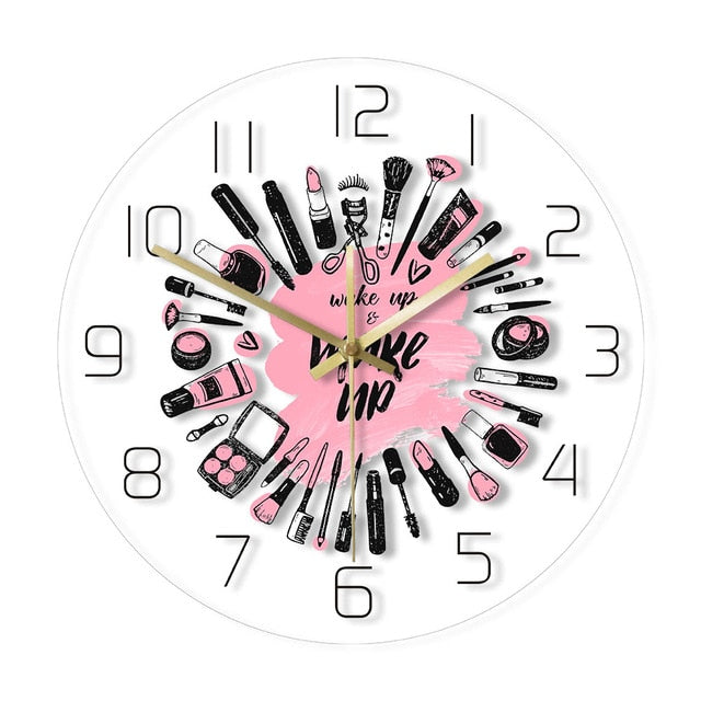 Wake Up & Make Up Cosmetics Collection Modern Wall Clock