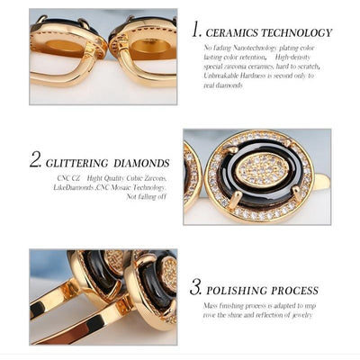 Rhinestone CZ Crystal Gold Silver Color with Ceramic Egg Earrings Rings Jewelry Set