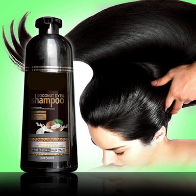 Fast Black Hair Shampoo Organic Pure Natural Coconut Oil Essence Hair Dye Shampoo for Cover Gray White Hair