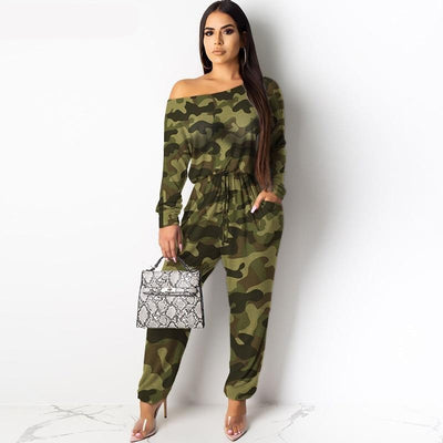Camouflage Leopard Plaid Cotton Jumpsuit for Women Pocket Drawstring Casual Loose Rompers Streetwear