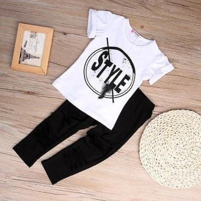 2PCS Outfit Children Clothing Set Kids Girls Clothes Set Short Sleeve T-Shirt + Hole Pant Leggings
