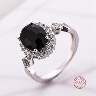 925 Sterling Silver Stackable Ring Round Black CZ Crystal