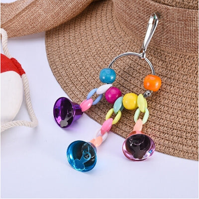 Bird Swing Toys Colorful Beads Bells Parrot Toys Suspension Hanging Bridge Chain Pet