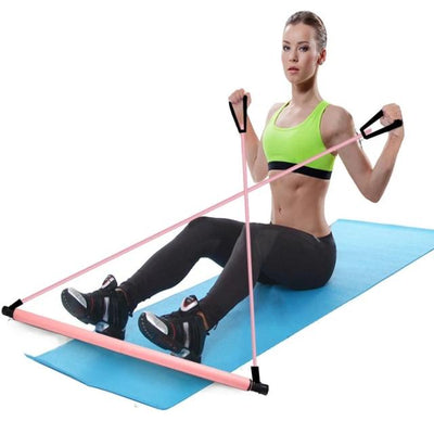 Workout Body Abdominal Resistance Bands Rope Puller Pilates Exercise Stick Toning Bar Home Yoga