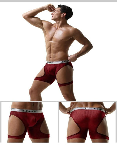 Big Cock Pouch Boxer Underwear Running Tight Breathable Mesh Sport Cool Ice Silk Long Leg Boxer