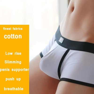 Open Front Underwear Men Cotton Sexy Men's Boxer Shorts Penis Hole Panties Breathable Pouch Bulge Underpants