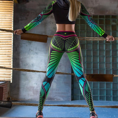 Leggings Women Color Geometric Print Fitness Leggings Polyester Ankle-Length