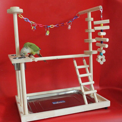 Wood Parrot Playground Bird Perch with Ladders Feeder Parrot Bite Toys Bird frame Stand Cage Bird Suspension Bridge