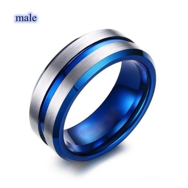 Couple Jewelry Ring Simple Stainless Steel Ring Women Blue/White Zircon Heart Rings Set Bridal Wedding Engagement Gift