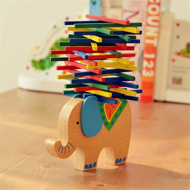 Children Wooden Building Block Balance Elephant Camel Toy For Kids Girl Wood Montessori Toys Stacking Interactive Balancing Game