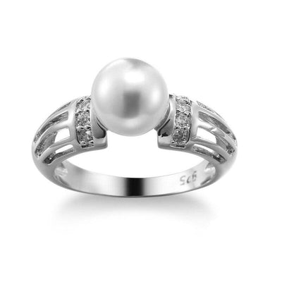 Big CZ & Freshwater Pearl Rings for Women Jewelry Gift