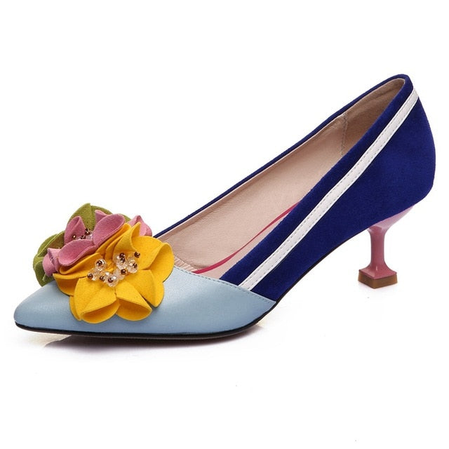 Shoes Woman Designer Multi-Color Flower High Heels Ladies Pumps Pointed Toe Women Genuine Leather Sweet Single Shoes