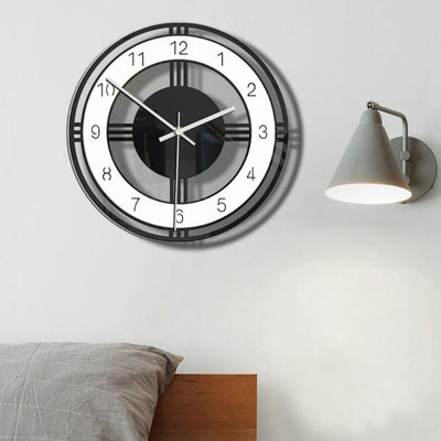 Acrylic Round Dial Digital Mute Wall Clock Office Room Wall Hanging Ornament Exquisite Home Decoration