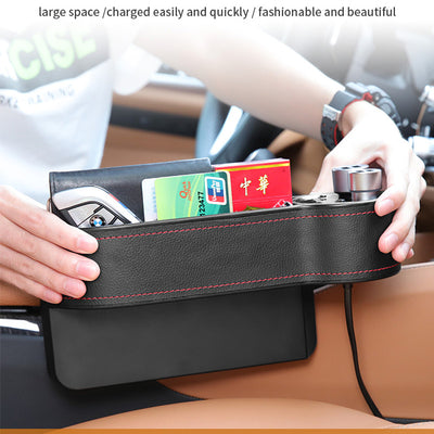 Car Seat Storage Box 2 USB Car Charger Cigarette Lighter Socket Car Organizer Bag