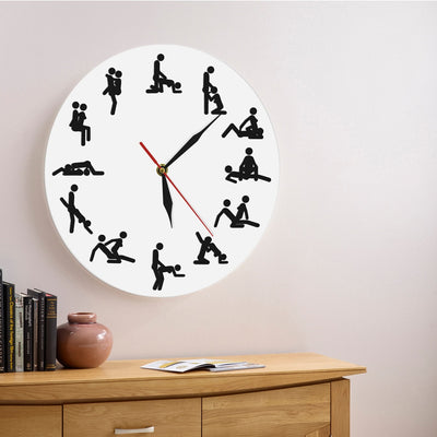 Sexual Positions Wall Clock Adult Sex Game 24 Hours Decorative Living Room