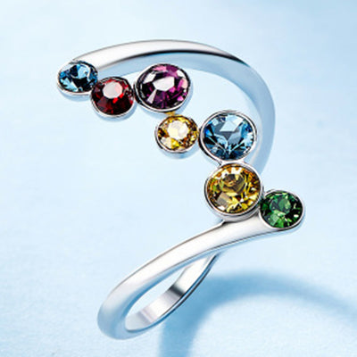 Elegant Ring with Round Rhinestone Colorful Rings Shiny Crystal Charming Jewelry Classical Rings