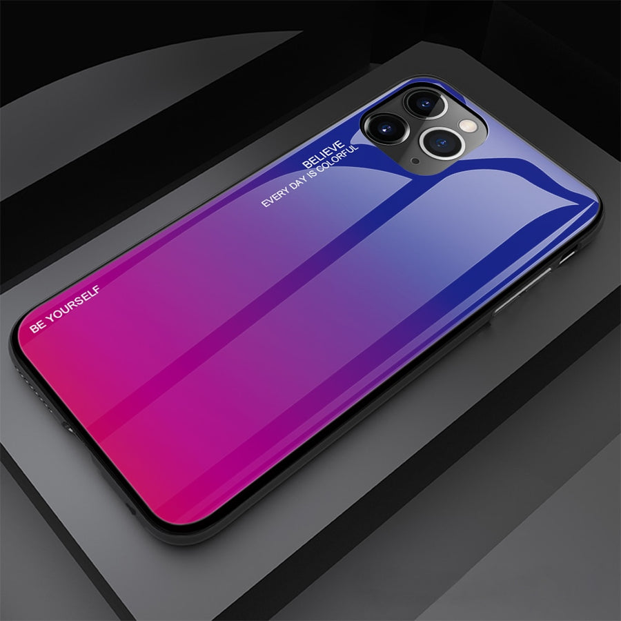 Tempered Glass Cover Gradient Painted Case for iPhone 11 Pro Max, Xs Max XR XS 7 8 Plus
