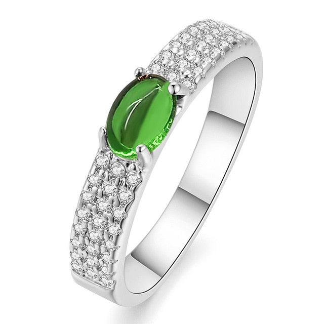 Green Stone Wedding Rings for Women with AAA Cubic Zirconia Rose Gold Color Crystals Engagement Rings