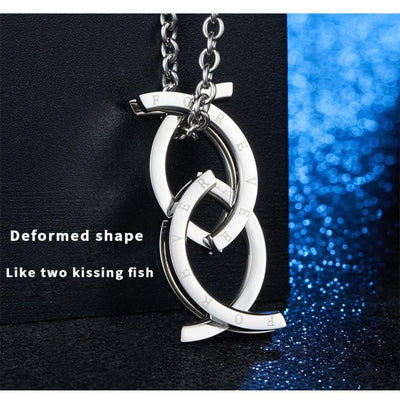 Unique Deformation Kissing Fish Ring for Men Silver Stainless Steel