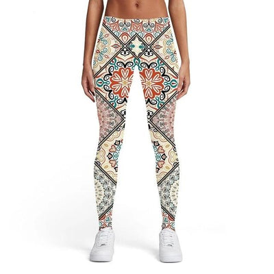 Leggings Women Pattern Ladies Colorful Sport Art Elastic Vintage Spandex Women Leggings Pants Fitness