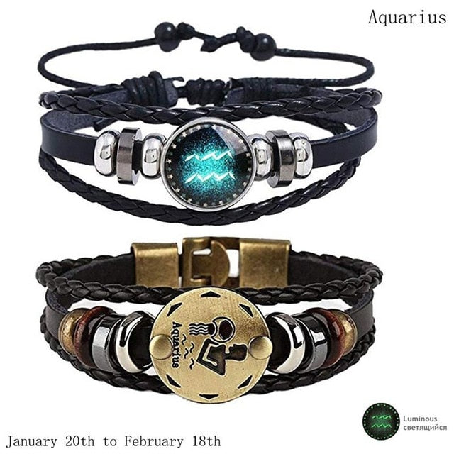 2pcs/set 12 Constellation Bracelets Luminous Charm Leather Bracelet Zodiac Horoscope Braided Bangle Men Women Jewelry Wrist Gift