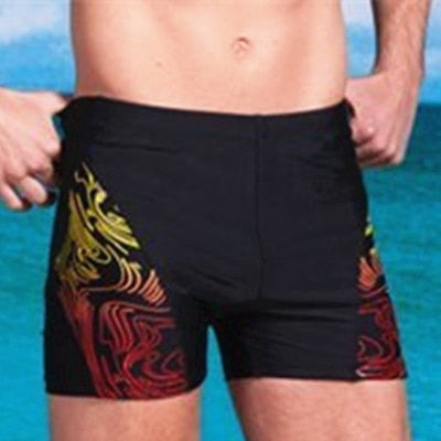 Plus Size Swimwear Men's Swim Trunks Men's Swimming Shorts Zipper Pocket Swimsuit Beach Wear